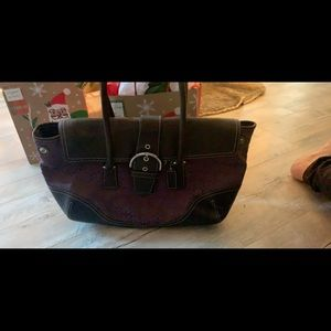 Coach deep purple and brown leather bag